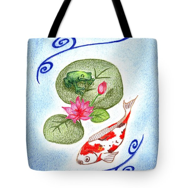 Tote Bag featuring the drawing Tranquility by Keiko Katsuta