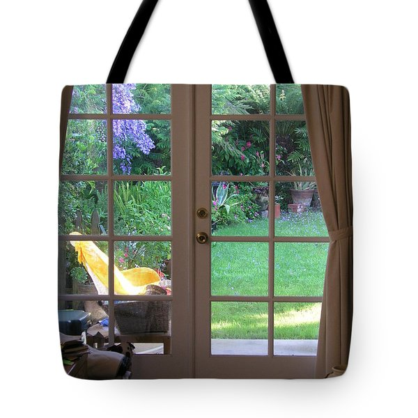 Tote Bag featuring the photograph Tranquility Through French Doors by Bev Conover