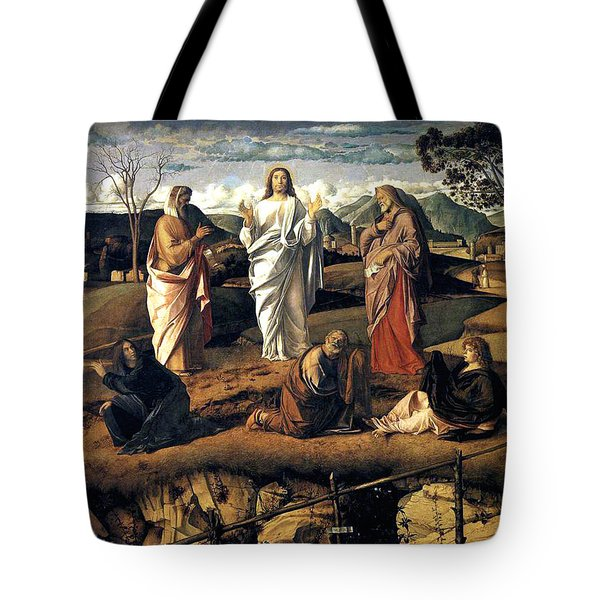 Tote Bag featuring the painting Transfiguration Of Christ 1487 Giovanni Bellini by Karon Melillo DeVega