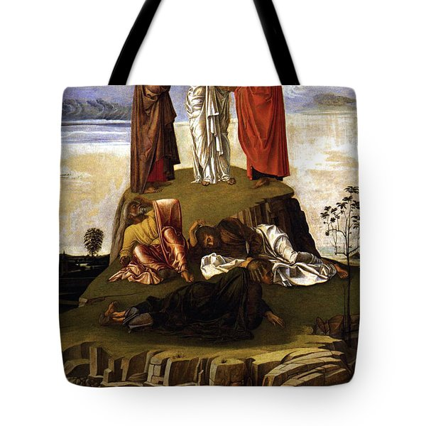 Tote Bag featuring the painting Transfiguration Of Christ On Mount Tabor 1455 Giovanni Bellini by Karon Melillo DeVega