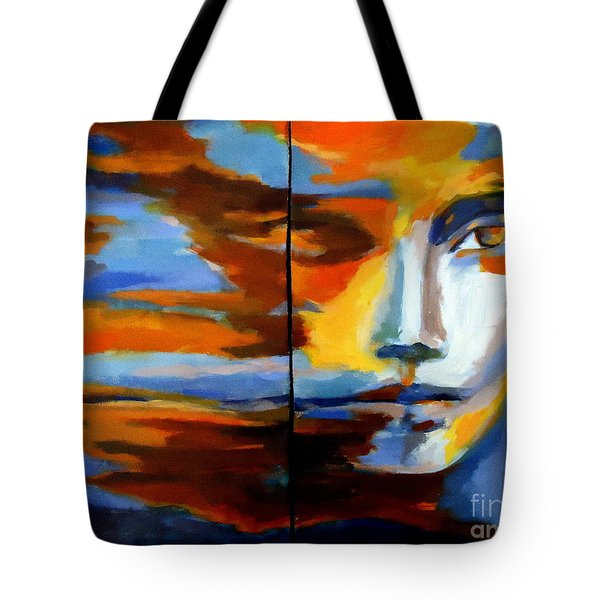 Tote Bag featuring the painting Transition - Diptic by Helena Wierzbicki