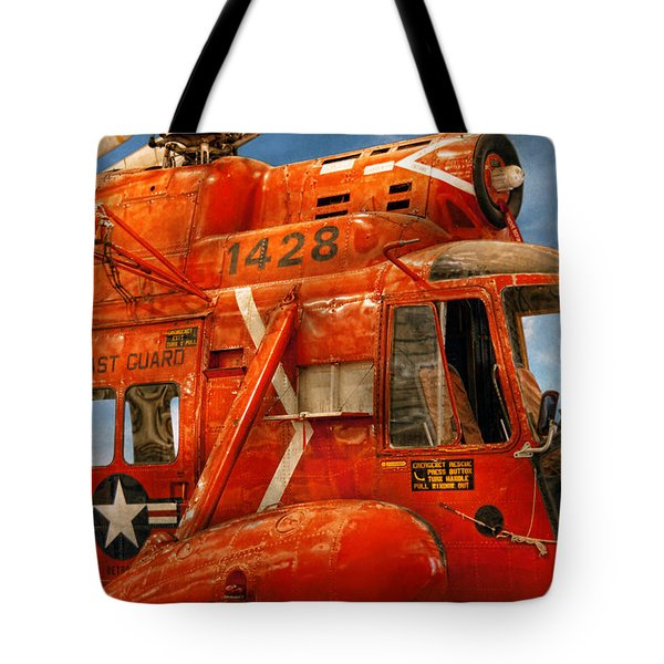Transportation - Helicopter - Coast Guard Helicopter Tote Bag by Mike Savad