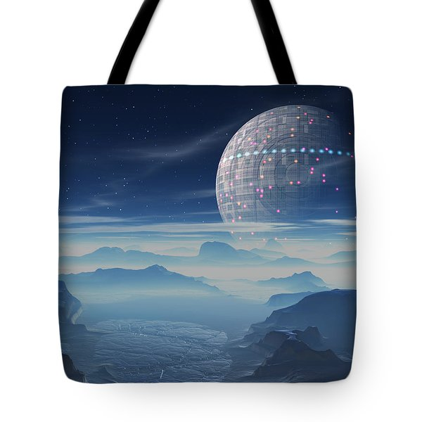 Tote Bag featuring the digital art Tranus Alien Planet With Satellite by Judi Suni Hall
