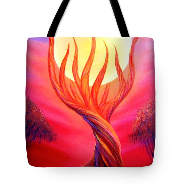 Tote Bag featuring the painting Trapped Moon by Lilia D