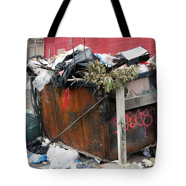 Tote Bag featuring the photograph Trash Dumpster In Slums by Gunter Nezhoda
