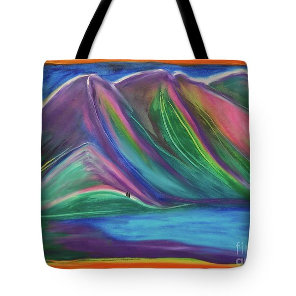 Tote Bag featuring the painting Travelers Mountains By Jrr by First Star Art