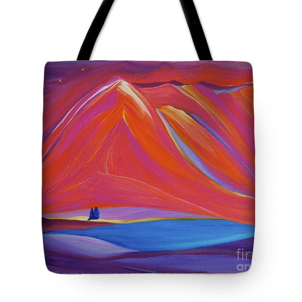 Tote Bag featuring the painting Travelers Pink Mountains by First Star Art
