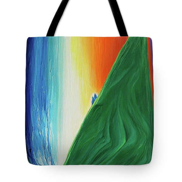 Tote Bag featuring the painting Travelers Rainbow Waterfall By Jrr by First Star Art