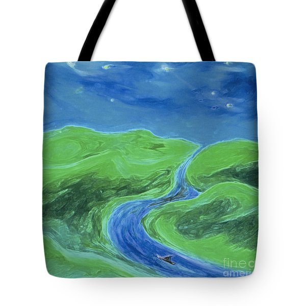 Tote Bag featuring the painting Travelers Upstream By Jrr by First Star Art