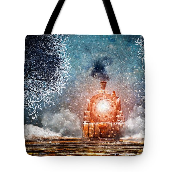 Traveling On Winters Night Tote Bag