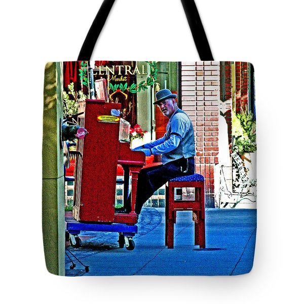 Traveling Piano Player Tote Bag