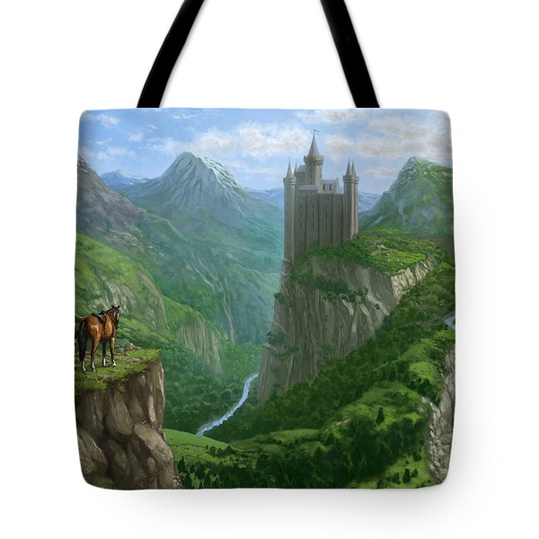 Traveller In Landscape With Distant Castle Tote Bag