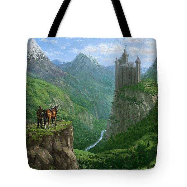 Traveller In Landscape With Distant Castle Tote Bag