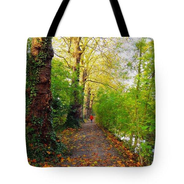 Traversee De L'automne Au Bord Du Canal De Seclin Tote Bag