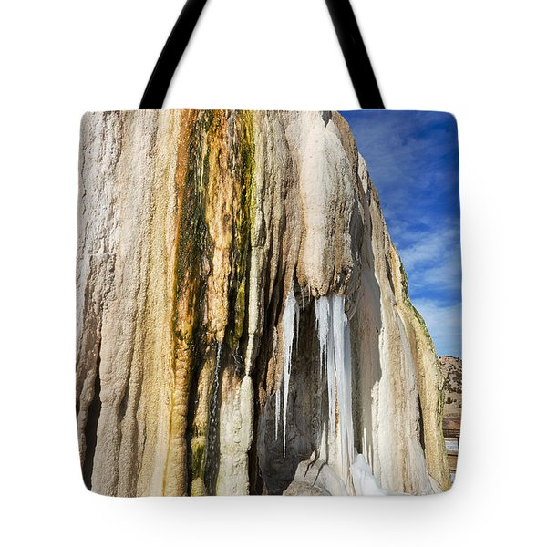 Tote Bag featuring the photograph Travertine And Water And Ice by Sue Smith