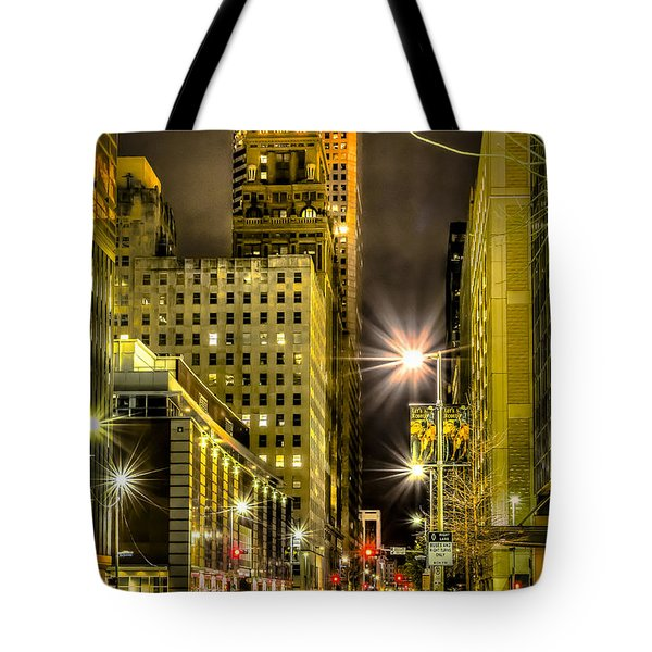 Travis And Lamar Street At Night Tote Bag