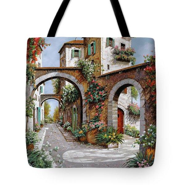 Tote Bag featuring the painting Tre Archi by Guido Borelli