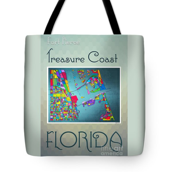 Tote Bag featuring the digital art Treasure Coast Map by Megan Dirsa-DuBois