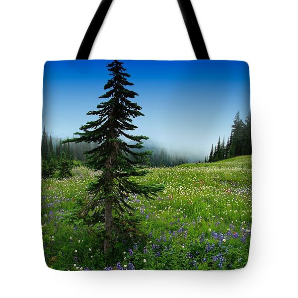 Tree Amongst Wildflowers Tote Bag