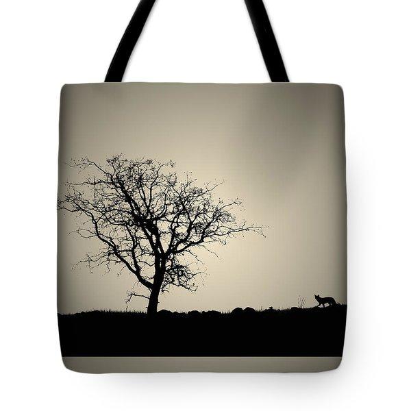 Tree And Coyote Bonsai Tote Bag