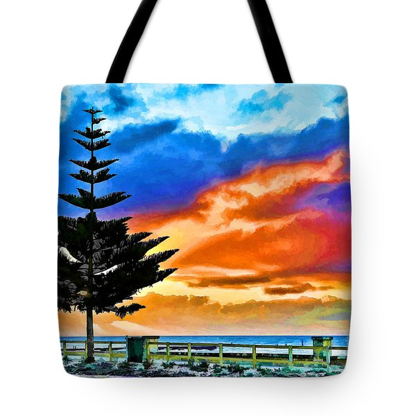 Tote Bag featuring the photograph Tree And Sunset by Yew Kwang