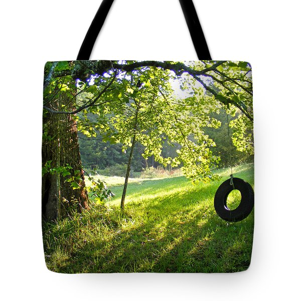 Tree And Tire Swing In Summer Tote Bag