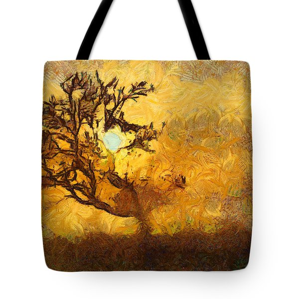 Tree At Sunset - Digital Painting In Van Gogh Style With Warm Orange And Brown Colors Tote Bag by Matthias Hauser