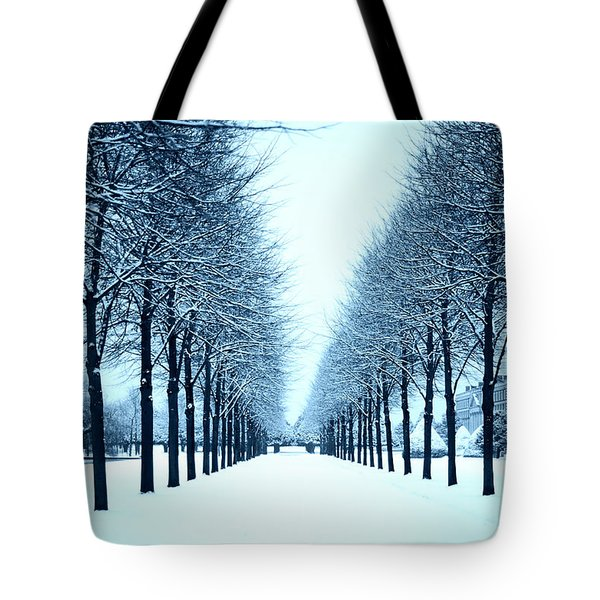 Tree Avenue In Snow Tote Bag