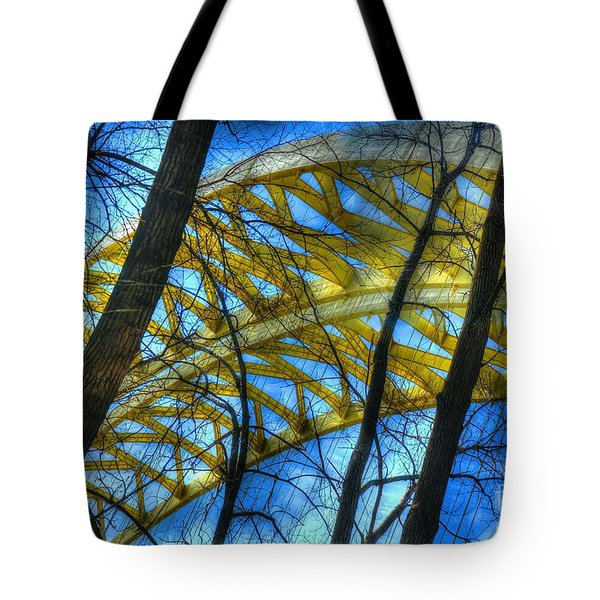 Tote Bag featuring the photograph Tree Bridge Designs by Mel Steinhauer