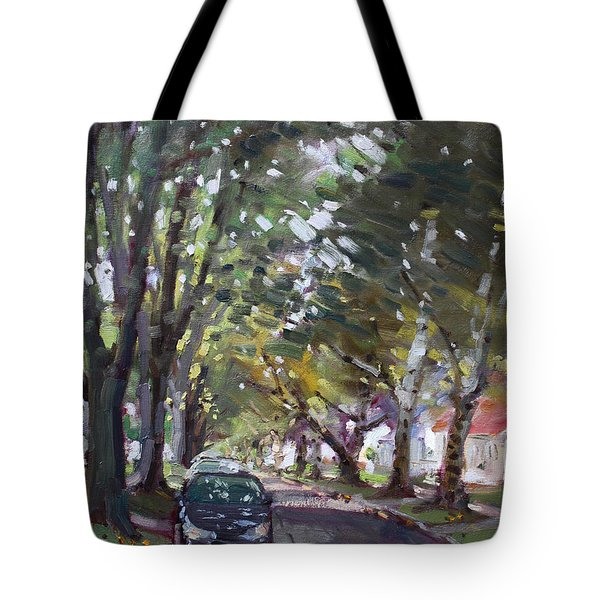 Tree Covered 81st Street Lasalle Tote Bag