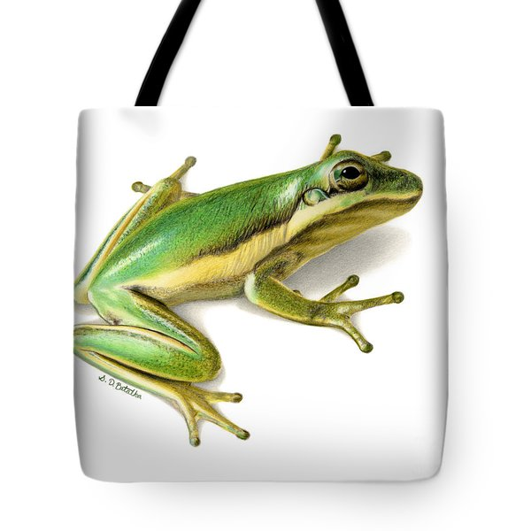 Green Tree Frog Tote Bag by Sarah Batalka