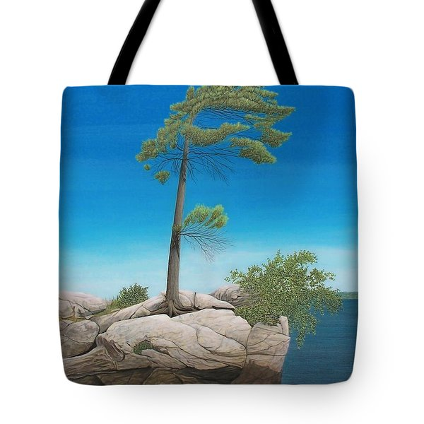 Tree In Rock Tote Bag by Kenneth M  Kirsch