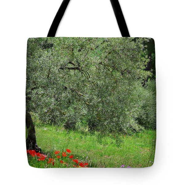 Tree In The Meadow Near Ronda  Tote Bag by Mary Machare