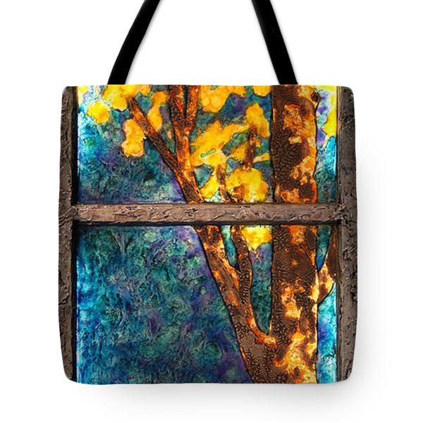 Tree Inside A Window Tote Bag