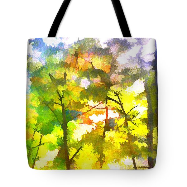 Tote Bag featuring the digital art Tree Leaves by Frank Bright