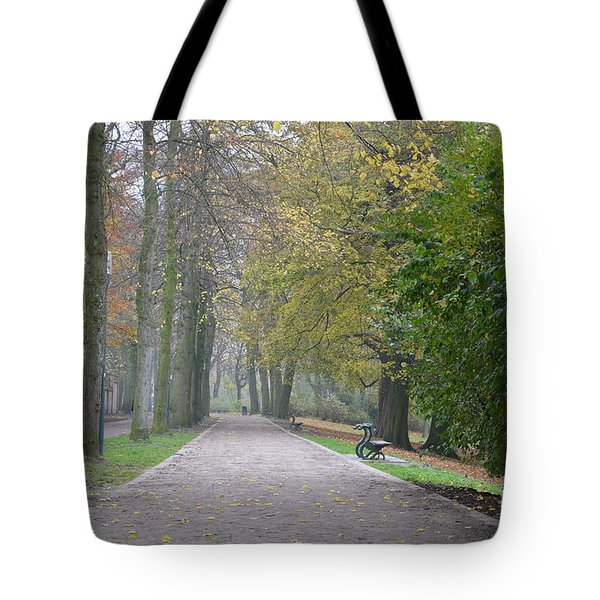 Tote Bag featuring the photograph Tree Lined Path In Fall Season Bruges Belgium by Imran Ahmed