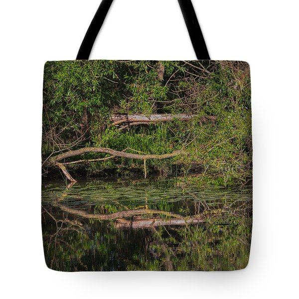Tote Bag featuring the photograph Tree Mirroring In Water by Leif Sohlman