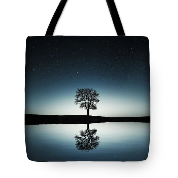 Tree Near Lake At Night Tote Bag