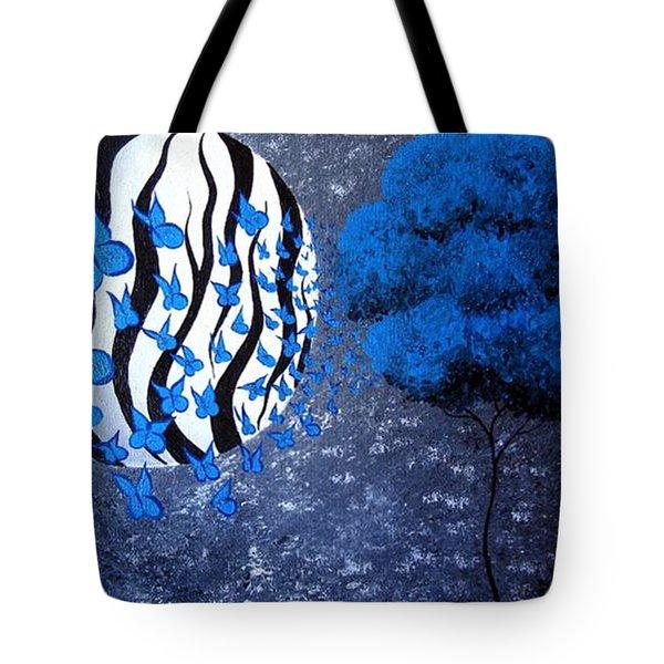 Tree Of Butterflies Tote Bag by Oddball Art Co by Lizzy Love