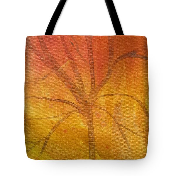 Tote Bag featuring the painting Tree Of Three Gold by Robin Maria Pedrero