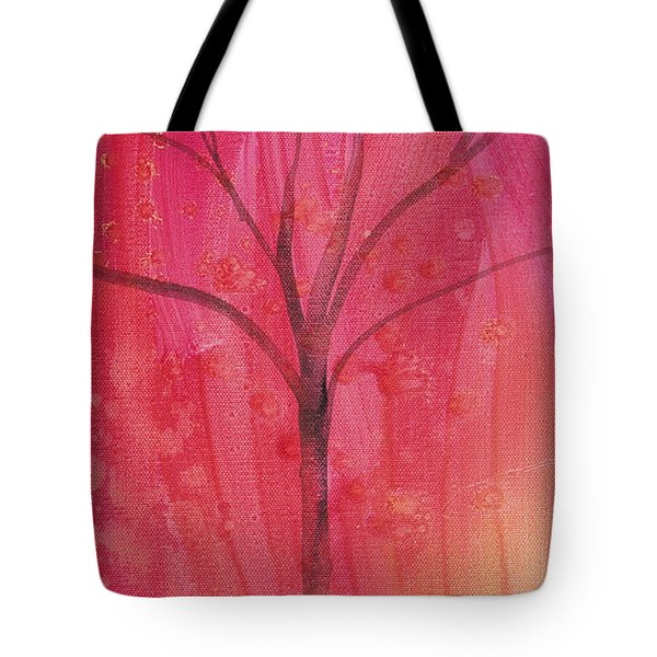 Tote Bag featuring the painting Tree Of Three Pink by Robin Maria Pedrero