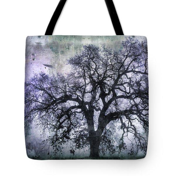 Tree Silhouette In Purple Tote Bag