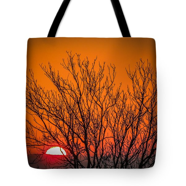 Tree Silhouetted By Irish Sunrise Tote Bag