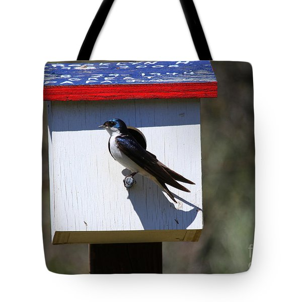 Tree Swallow Home Tote Bag by Mike  Dawson