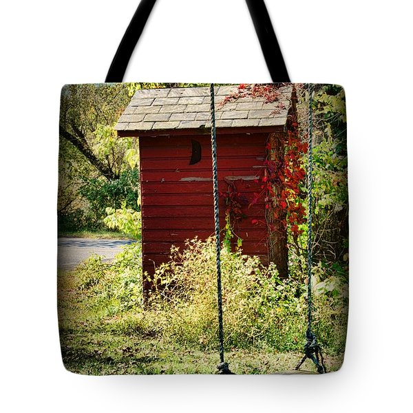 Tree Swing By The Outhouse Tote Bag by Paul Ward
