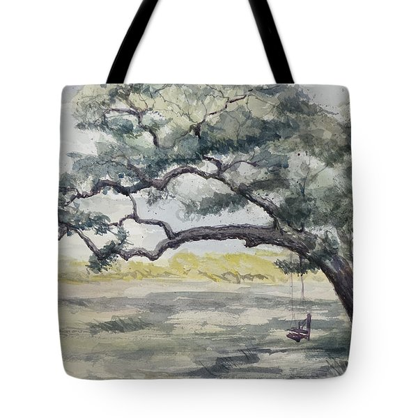 Da187 Tree Swing Painting By Daniel Adams Tote Bag