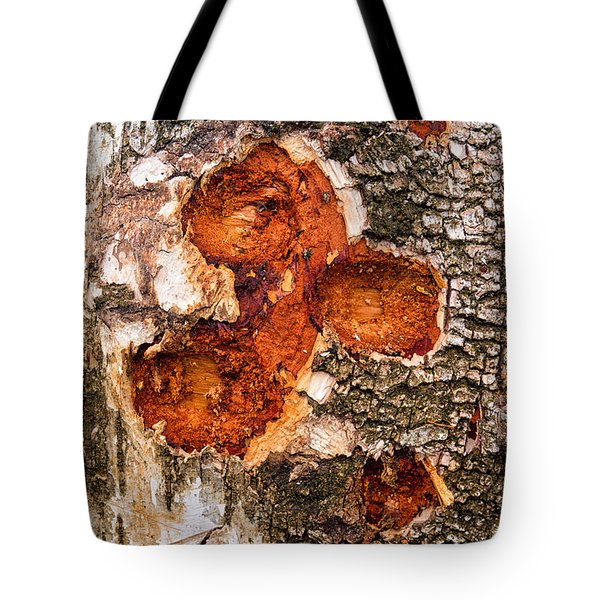 Tree Trunk Closeup - Wooden Structure Tote Bag by Matthias Hauser