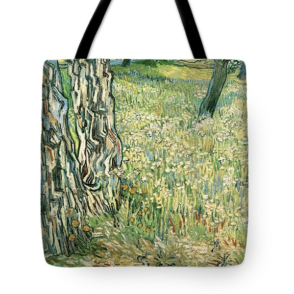 Tree Trunks In Grass Tote Bag by Vincent van Gogh