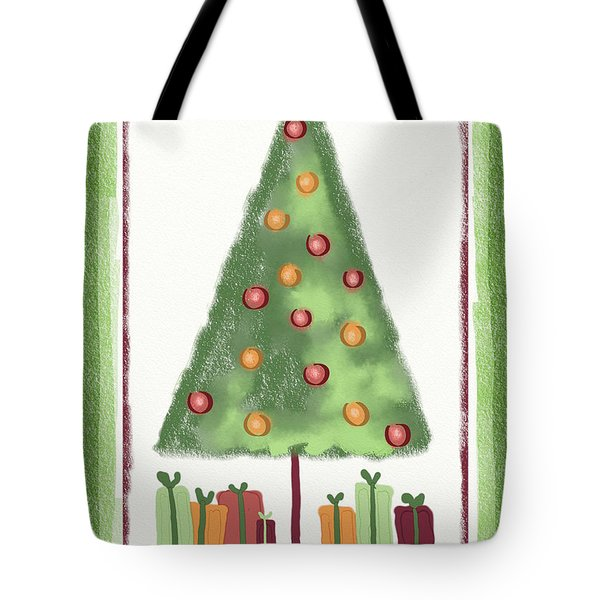 Tote Bag featuring the digital art Tree With Presents by Arline Wagner