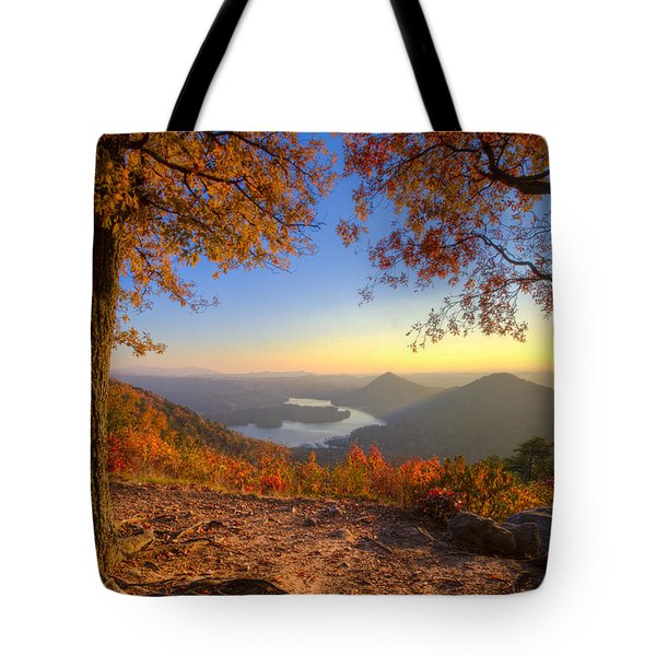 Trees Aflame Tote Bag by Debra and Dave Vanderlaan